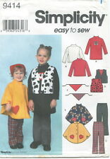 Simplicity 9414 Girls Pants Vest Poncho Scarf Knit Dress Top Sewing Pattern