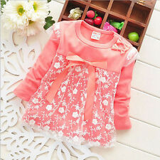 Spring Autumn Lace Baby Kid Girls Infant Newborn Nice Floral Tops Shirt Dresses