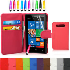 Flip Wallet Leather Pouch Case Cover For Nokia Lumia 820 FREE Screen Protector