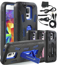 Rubberized Hybrid Kickstand Case Cover with Charger Kit For Samsung Galaxy S5 SV