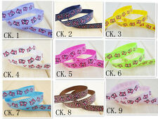 """Free shipping 10 yards 3/8""""10 mm print ribbon butterfly rib belt color selection"""