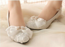 Wedding Shoes Lace Pearl Butterfly Knot Bride Bridesmaid Party Red White
