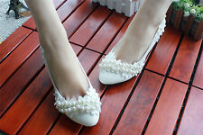 Lace Flower Pearl White Flat High Heel Wedding Bride Bridesmaid Party Shoes