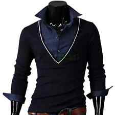 New Men's Stylish All-cotton False-two-piece Big V-neck Slim Long Sleeves Shirt