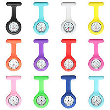Silicone Nurse Brooch Clip Fob Tunic Pendant Candy Color Quartz Pocket Watch