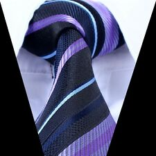 New Silk Classic Striped Mix Color JACQUARD WOVEN Silk Men's Tie Necktie xp
