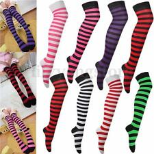 Women Over Knee Long Stripe Print Thigh High Striped Patterned Socks Fancy Dress