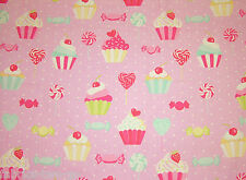 CUP CAKE Cotton Rich Lifestyle Craft Print Fabric Fun Funky Best Cheap