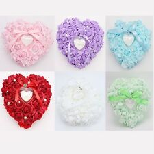 Chic Wedding Ring Pillow Box transprent Love Hearted Design Bowknot Ribbon -S