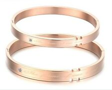 IP Rose Gold Couple Bangle Stainless Steel Cuff Bracelets For Wife Husband Gifts