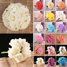 20 Head Beautiful Latex Real Touch Rose Flower Bouquet Bridal Wedding Home Decor