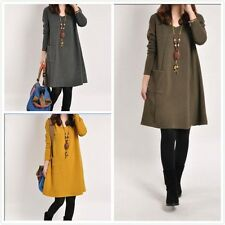 Women's Autunm Winter Casual Loose Long Sleeve Knitting Wool Dress Plus Size
