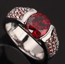 Surrounded by a Circle Red Garnet Gems Silver Rings US#Size5 6 7 8 9 T0238