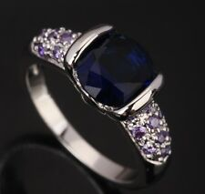 Sapphire blue Topaz Amethyst Round Gems Silver Rings US#Size5 6 7 8 9 T0245