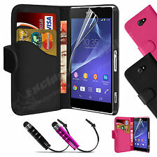 Book Flip Wallet Leather Case Cover For SONY Xperia M2 Screen Protector
