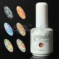 15ml Nail Art UV Gel colour Soak off Polish UV LED lamp Glitter Decor 6 Colours