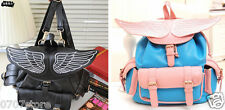 Black Pink Backpack Angel Wings Buckle Book Basg Backpack PU Faux Leather Pocket