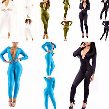 New Womens Evening Stretch Clubwear Mesh Bodycon V-Neck Long Jumpsuits Dress