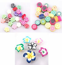 Wholesale 100pcs Mixed Polymer Fimo Clay Fruit/ lily/Flowers Spacer Beads