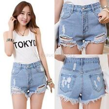 Vintage Women High Waist Shorts Jeans Tassel Hole Denim Jean Shorts Short Pants