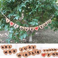 Photo Booth Props Just Married Wedding Bridal Decor Rustic Bunting Banner Sign