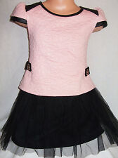 GIRLS PASTEL PINK BLACK LEATHERETTE TRIM QUILTED TULLE WINTER PARTY DRESS