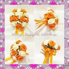 WEDDING FLOWERS BRIDESMAID BOUQUET POSY SILK FOAM ROSES ORANGE + OTHER COLOURS