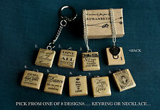 Handmade Wooden Scrabble Tile Love Phrases/Message - Necklace/Keyring - CHOOSE