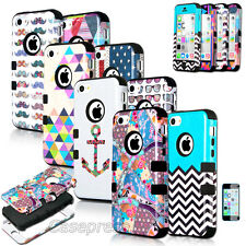 For iPhone 5C Colorful Heavy Duty Hybrid Rugged Rubber Soft Hard Case Cover