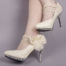 Sparkly Checker Lace Wedding Banquet Formal Party Women High heels