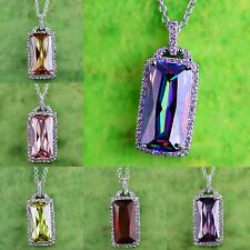Amethyst Morganite Ruby Spinel &Green Amethyst Gemstone Silver Pendant Necklace