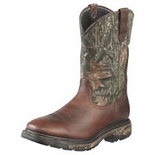 MENS ARIAT SQUARE TOE, OILED BROWN MOSSY OAK WORK HOG WORK BOOTS-H20! 10010135