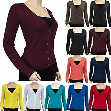 New Basic Casual Knit V Neck Sweater Button Down Top Long Sleeve Cardigan