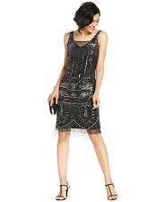 1920's FLAPPER CHARLESTON gatsby ART DECO  fringe tassel BLACK DRESS 8 16 18