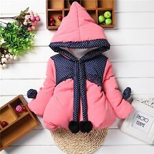 Baby Girls Kids Clothes Cotton Hooded Coat Winter Warm Jacket Outwear 1-4Y AA23