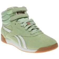 New Womens Reebok Green Freestyle Hi Suede Trainers Top Lace Up Velcro