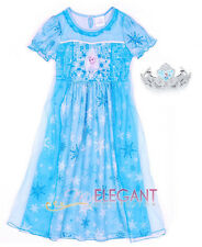 Disney Frozen Prinzessin Elsa Mädchen Kostüme Kleid Pyjama Costume Dress 3-8 Yrs