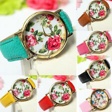 GENEVA Vintage Women Girl Leather Rose Flower Watch Anlog Quartz Watches Fashion