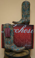 """NEW! LUCCHESE LADIES """" CHOCOLATE VINE & LEAVES"""" COWBOY WESTERN BOOTS! M4866!"""
