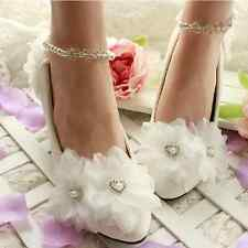 Pure Handmade White Elegant Bridal Shoes Pearl Ring Crystal Lace Flower Low Heel