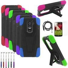 Phone Case For LG G2 4g LTE Rugged Hard Cover Stand USB Charger Film Stylus