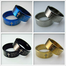 NEW Unisex's Men Blue Black Gold Stainless steel Bible Pendant Rings SIZE 6.5~11