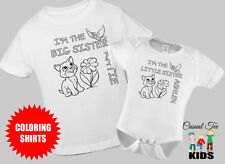 Big Sister Little Sister Matching Cat Coloring Shirts