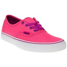 New Womens Vans Pink Authentic Canvas Trainers Lace Up