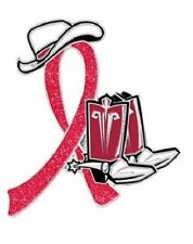 Red Awareness Ribbon Pin Cancer Cause Support Sparkle Cowboy Western Boots Hat