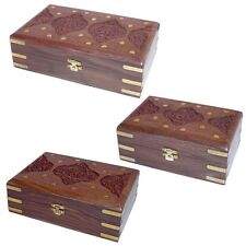 Carved Wooden Box With Flower And Brass Inlay 146