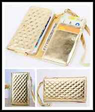 Gold Grid PU Leather Wristlet Purse Wallet Case Cover For Multi Phone Model 5.3