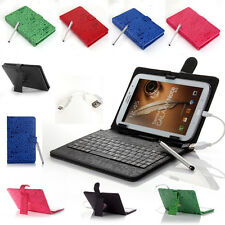 "Universal Folio Stand Leather Keyboard Case Cover for 7"" 8"" Tablet w/Free Stylus"