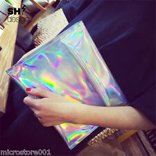 Trendy Hologram Metallic Silver Envelope Clutch Evening Bag HOLOGRAPHIC Gammaray