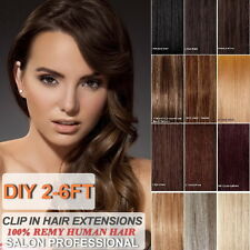DIY Weft Clip in 100% Remy Human Hair Extensions 2-6FT Weft, Range Color& Length